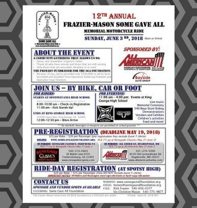 12th Annual Frazier-Mason &#39Some Gave All&#39 Motorcycle Ride - June 3, 2018