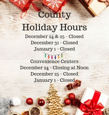 County Holiday Schedule 2018