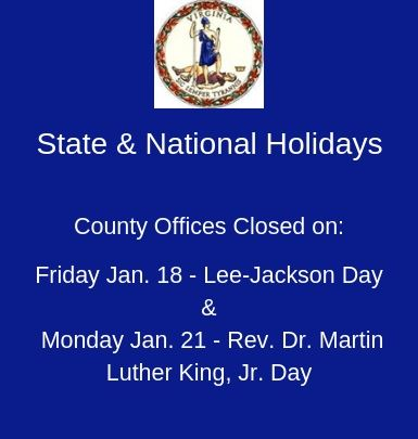 Lee-Jackson & MLK Holidays