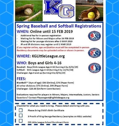 Spring Baseball and Softball