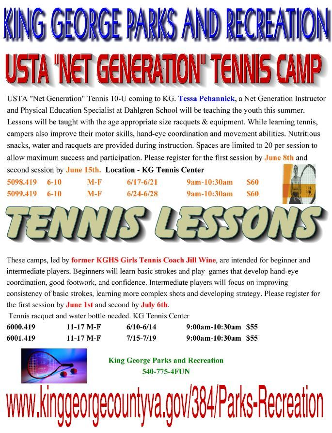 2019 Youth Tennis Camps